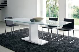 enchanting gray fur dining room rug decoration under white dining table and timber glass on the