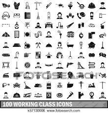 100 労働者階級 アイコン セット 単純である スタイル イラスト