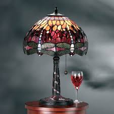 red tiffany lamp dragonfly design