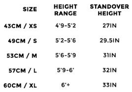 Fixed Bike Size Chart 22 Memorable Fixed Gear Chart