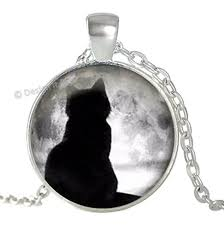 details about grey moon black cat kitten tree silhouette silver pendant necklace jewellery uk