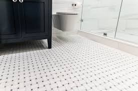 guest bathroom mesh tile floor arabeo carrara octagon black