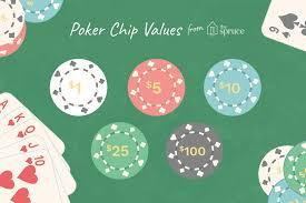 Standard Poker Chip Values Or Denominations