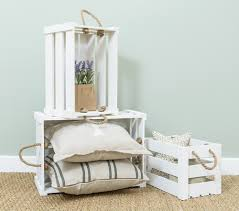Wooden Crate With Handles White Rustic Wooden Crates