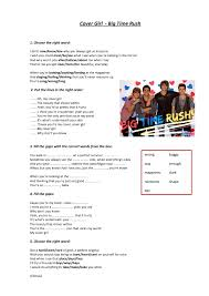 Worksheet: Cover Girl by Big Time Rush
