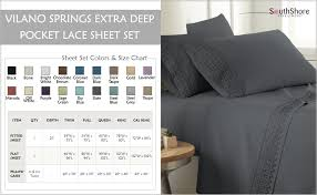 Southshore Fine Linens Vilano Lace 4 Piece Extra Deep Pocket Sheet Set King Slate