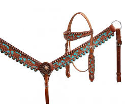 hand painted leather bridle t collar set