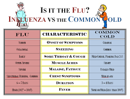 Cold Symptoms Vs Flu Symptoms Chart Common Cold Or Flu Whats The Difference
