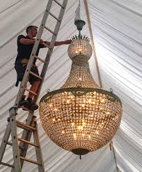 empire chandelier install 2 2m by 1 2m 48 light 70kg
