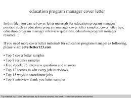 Education Program Manager Cover Letter Ideas Collection Educational