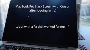 macbook pro black screen with cursor