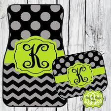 Concept Green Car Floor Mats Chevron Personalized Monogrammed Mat Initial Lime With Decor