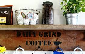 wooden coffee mug rack daily grind coffee stencil design area measures approx x wide x 5 tall wooden coffee mug holders