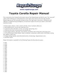 toyota corolla repair manual 1990 2011 1990 Dodge Dakota Ignition Wiring Diagram www repairsurge com toyota corolla repair manual the convenient online toyota corolla repair manual 1990 1990 dodge dakota wiring diagram