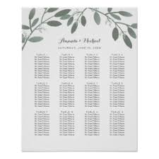 How To Make A Seating Chart Poster Elegant Eucalyptus Garden Wedding Seating Chart