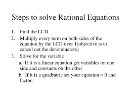 steps to solve rational equations