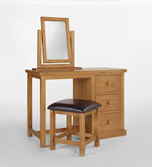 Pine Bedroom Stools Rectangle Black Stained Wooden Three Fold Mirror Dressing Table