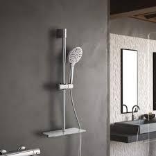 Lonheo Edelstahl Brausestangenset Mit Glasablage Und Handbrause 3 Strahlarten Duschsysteme Ohne Wasserhahn Duschset Regendusche Duscharmatur