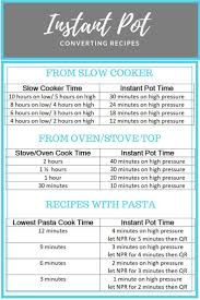 Oven To Slow Cooker Conversion Chart Converting Recipes For Instant Pot Chart A Look At Which