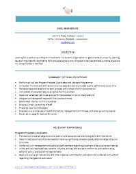 Latest Program Coordinator Resume Sample in Word Doc Free
