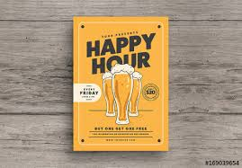 Happy Hour Flyer Hand Drawn Style Happy Hour Flyer Layout Buy This Stock