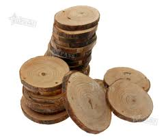 24 natural unfinished wood round discs slices for diy craft hobby pyrography