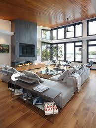 Example of a trendy open concept medium tone wood floor family room design  in Milwaukee with