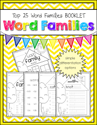 Word Families Template Word Family Booklet Featuring The Top 25 Word Families