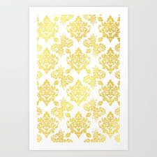 Gold Damask Background Gold Foil Damask Pattern Gold Damask Art Print By Designsbym