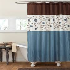 Lush Decor Lake Como Curtains Blue And Green Fabric Shower Curtain