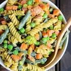 1 pot curried rotini with currants  peas and red peppers