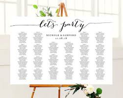 Lets Party Wedding Seating Chart Template In Four Sizes