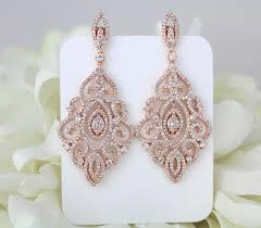 rose gold earrings bridal earrings wedding jewelry crystal earrings chandelier earrings statement earrings bridesmaid earrings