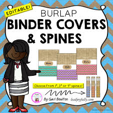 Editable Binder Covers Spines Burlap Designs