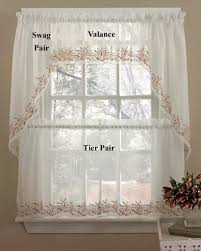 heather embroidered voile kitchen curtains