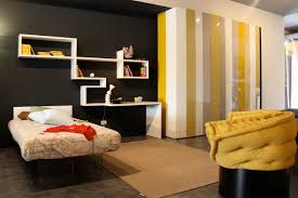 alluring yellow grey black bedroom ideas with white designer shelves minimalist single bed comfortable stylish decorative alluring home bedroom design ideas black