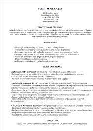 Diesel Mechanic Resumes Sample Resume Template For Mechanic Diesel Mechanic Resume Template