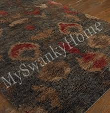 9 x 12 hand knotted ethnic jute area rug red gray neiman red and gray area