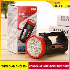 Đèn pin cầm tay đèn Led hai chế độ sáng có thể sạc lại, phù hợp sử dụng  trong nhà hoặc ngoài trời - Đèn sạc Hãng No brand
