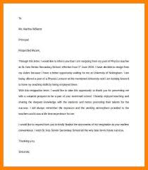 Resignation Letter From The Post Of Teacher Under