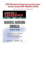 Pdf Mechanical Engineering Formulas Pocket Guide Pdf Ebook