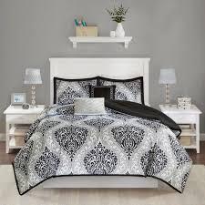 intelligent design sabrina 5 piece black full queen damask comforter set
