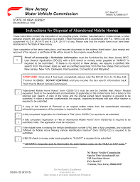 new jersey motor vehicle mission instructions for disposal of