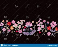 Floral Embroidery Designs Vector Floral Embroidery Seamless Border With Beautiful Pink