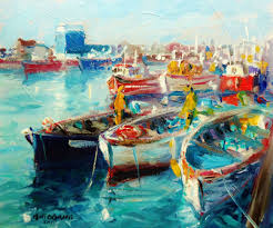howth lobster boats high tide painting 10x12 in 2016 by bill o