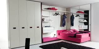 f charming bedroom designs for teenage girls with l shaped walk in closet and pink single beds near pink finish wooden floating nightstand plus black bedroom teen girl rooms walk