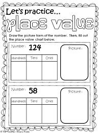 Place Value Chart For 1st Grade Place Value Worksheet 1st Grade Csdmultimediaservice Com