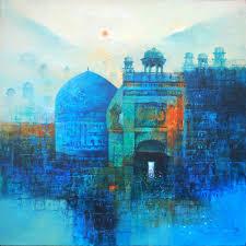 aq arif landscape painting mughal building um oil on canvas size 36