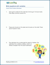 grade 3 word problems with equations