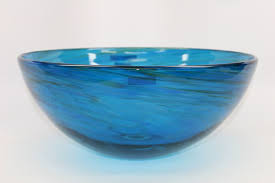 picture of blue water iv blown glass vessel sink